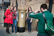 The Royal Mail painted a post box gold in honour of gold-medal winning British pentathlete Jessica Ennis, Sheffield, UK.