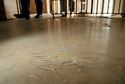 em020112d/jnorth/daily/Marks on the floor where, as the story has it, a man was decapitated during the 1980 riot at the New Mexico State Pentitentiary in Santa Fe. Photo shot Wednesday, Febuary 1, 2012. (Eddie Moore/Albuquerque)