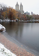 First snow in Central Park New York.