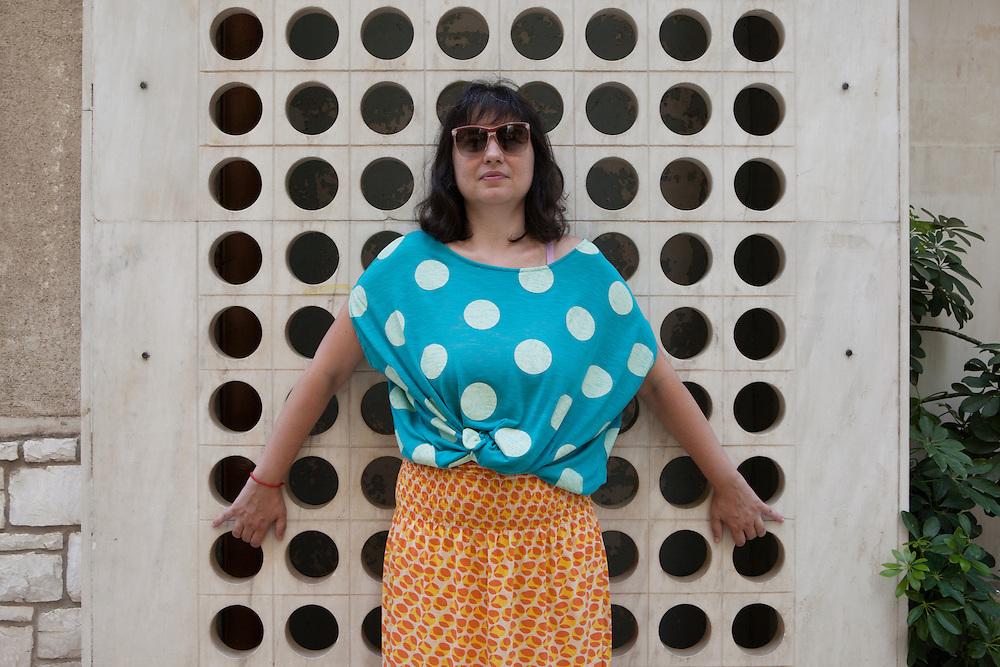 """Athens, Greece, July 14, 2014. Elina Psykou, Greek filmmaker, author of """"The eternal return of Antonis Paraskevas""""."""
