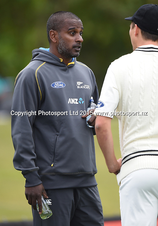 NZ bowling coach Dimitri Mascarenhas during play on day 5 of the 1st cricket test match between New Zealand Black Caps and Sri Lanka at University Oval, Dunedin, New Zealand. Monday 14 December 2015. Copyright photo: Andrew Cornaga / www.photosport.nz