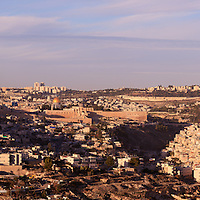 Panoramic view from the South of the Old City of Jerusalem and adjacent village of Silwan.