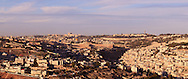 Panoramic view from the South of the Old City of Jerusalem and adjacent village of Silwan. WATERMARKS WILL NOT APPEAR ON PRINTS OR LICENSED IMAGES.