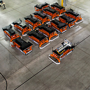 The first Chevrolet Volt battery makes its way through the General Motors Brownstown Battery plant on an automated guided cart (AGC) in Brownstown Township, Michigan Tuesday, December 22, 2009. The Brownstown facility is the first lithium ion battery pack manufacturing plant in the U.S. operated by a major automaker. (Jeffrey Sauger)