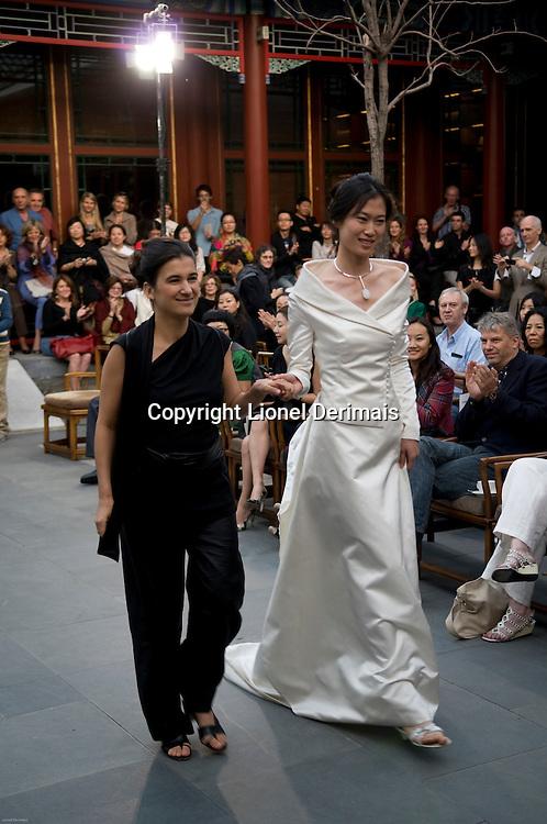 Kathrin von Rechenberg, German Beijing-based fashion designer at a fashion show in the Summer palace, Beijing, China.
