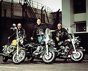 Portrait of a group of Harley Davidson Bikers<br />