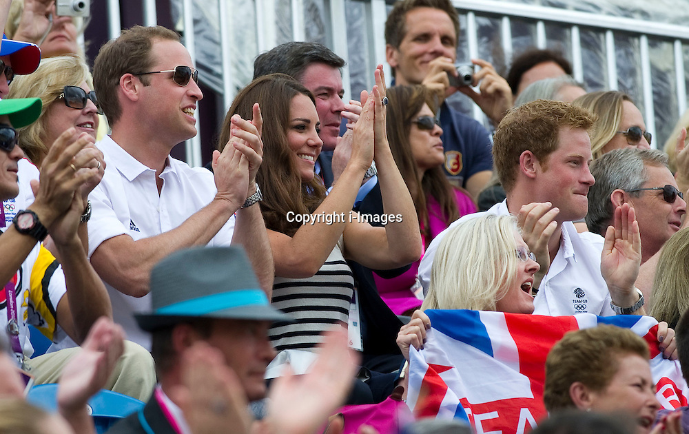 Duke and Duchess of Cambridge and Prince Harry watching Zara Phillips competing  at  the show jumping event at the London 2012 Olympics , Tuesday 31st July 2012 Photo by: i-Images