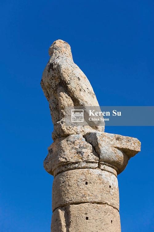Karakus Royal Tumulus dating back to first century BC, pillars with relief on top, near Adiyaman, Turkey