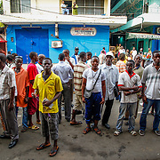 People gather in central Monrovia, awaiting the verdict announcement of former president and warlord Charles Taylor. Liberia, April 2012.