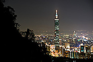 A view of Taipei 101 and Taipei City from The Four Beasts Mountains in Taipei, Taiwan.