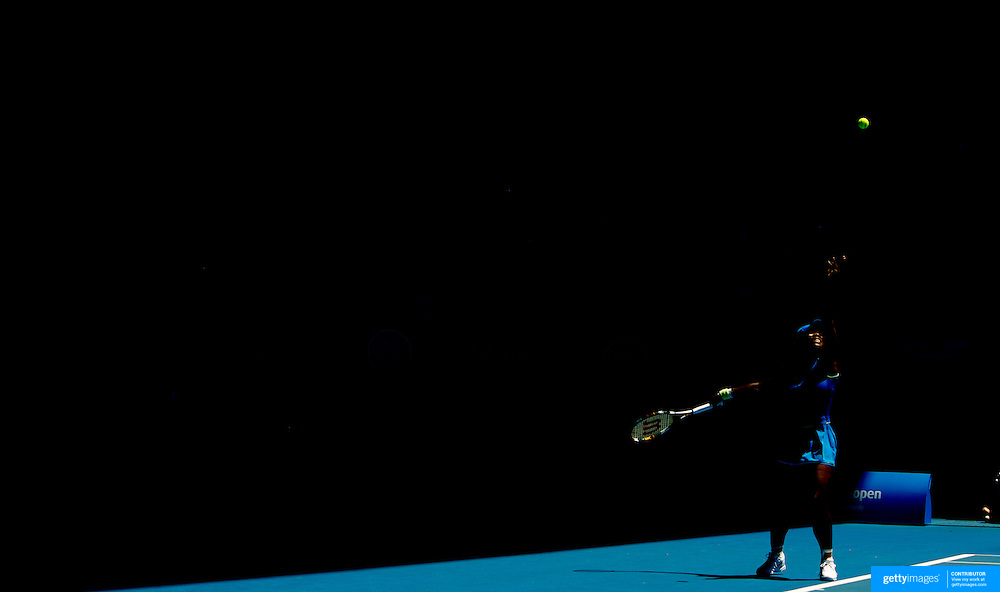 Serena Williams of USA in action during her  Women's Quarter Final victory over Svetlana Kuznetsova of Russia at the Australian Tennis Open on January 28, 2009 in Melbourne, Australia. Photo Tim Clayton    .