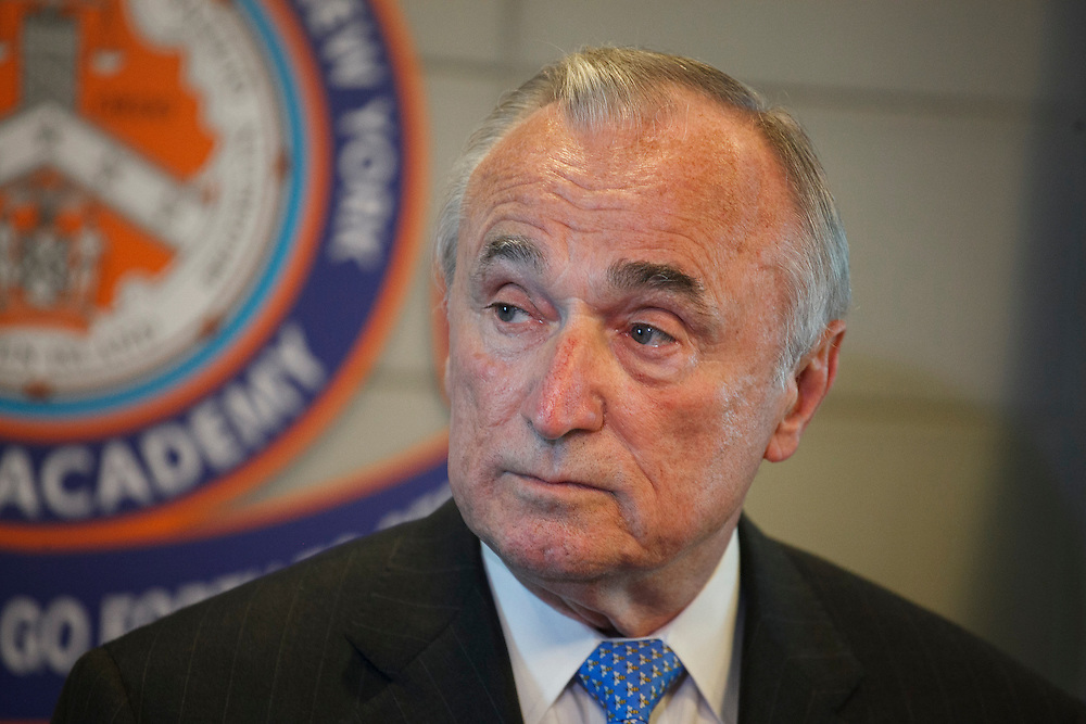 NYPD Commissioner William J. Bratton speaks to the press following the NYPD Transit Bureau Canine Unit Graduation Ceremony at the College Point Police Academy in Queens, NY on Tuesday, Oct. 6, 2015.<br /> <br /> Andrew Hinderaker for The Wall Street Journal<br /> NYSTANDALONE