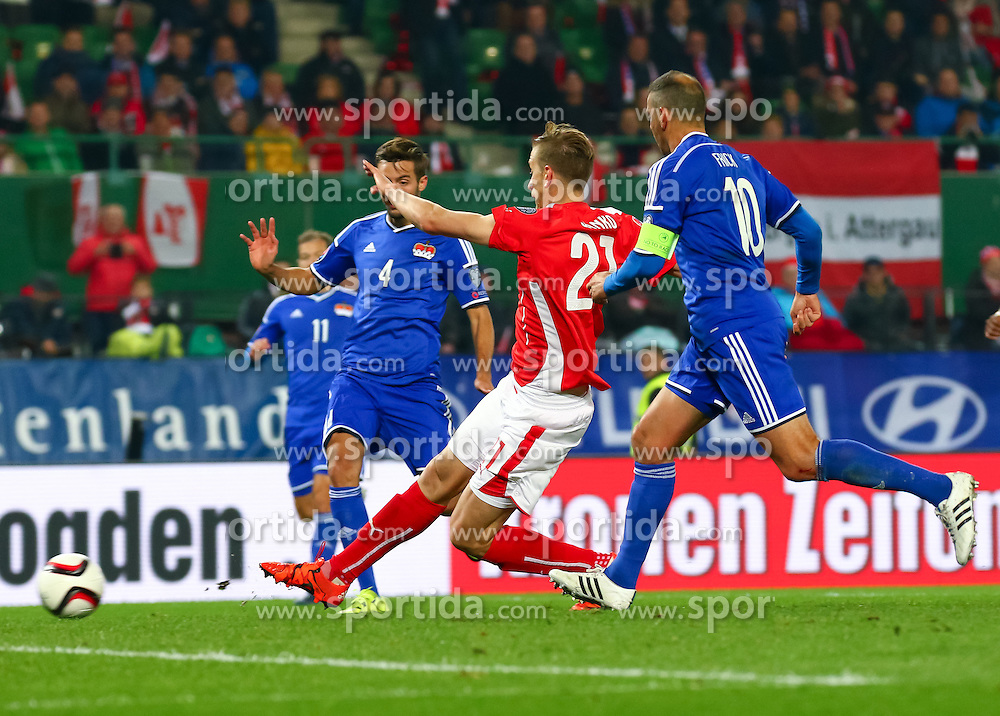 12.10.2015, Ernst Happel Stadion, Wien, AUT, UEFA Euro 2016 Qualifikation, Österreich vs Liechtenstein, Gruppe G, im Bild Daniel Kaufmann (LIE), Marc Janko (AUT), Mario Frick (LIE) beim Schuss zum Tor zum 2:0 // the UEFA EURO 2016 qualifier group G match between Austria and Liechtenstein at the Ernst Happel Stadion, Vienna, Austria on 2015/10/12. EXPA Pictures © 2015 PhotoCredit: EXPA/ Sebastian Pucher