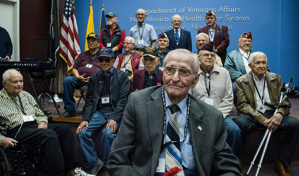 rer040517a/A1/04.05.2017/Roberto E. Rosales <br /> Former prisoners of war from World War II, Korea and Vietnam along with their families were guests during ceremony for recognition on April 5 at the Raymond G. Murphy VA Medical Center.  Picture sitting on the front along with all remaining veterans was WWII VET Roy Hopper(Cq) preparing to take a group photo.<br /> <br /> Albuquerque, New Mexico(Roberto E. Rosales/Albuquerque Journal)