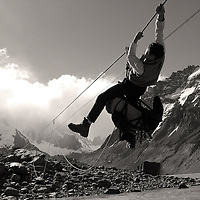 tyrolean traverse over the Fitzroy river to reach the Cerro Torre Glacier moraine. i