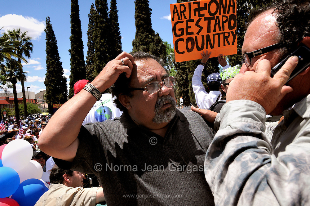 About 6,000 people marched in the La Gran Marcha on May 1, 2010, to Armory Park in Tucson, Arizona, USA. The focus of the march was the protest of the controversial bill SB1070 that takes aim at illegal immigration.  Arizona Congressman, Raul Grijalva, (left), called for a boycott of Arizona.