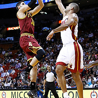 24 January 2012: Cleveland Cavaliers small forward Omri Cassi (36) takes a jumpshot over Miami Heat small forward Shane Battier (31) during the Miami Heat 92-85 victory over the Cleveland Cavaliers at the AmericanAirlines Arena, Miami, Florida, USA.