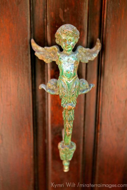 USA, Puerto Rico, San Juan. Angel Door Handle.