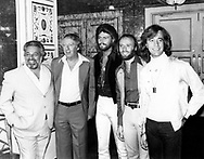 Bee Gees 1978 Dee Anthony, Robert Stigwood, Barry Gibb, Maurice Gibb and Robin Gibb announce Sgt. Pepper film