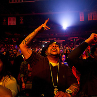 The crowd sings along as Meek Mill performs during the MMG Tour in Providence, Rhode Island at the Dunkin Donuts Center on November, 16, 2012.  Photo by Matthew Healey