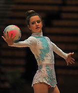 CAPE TOWN, SOUTH AFRICA - Friday 10 October 2014, Sara Feldman of Gauteng and overall South African champion doing her routine with the ball (rhythmic gymnastics) during the SA Gym Games (gymnastics) held at the Bellville Velodrome and Good Hope Centre.<br /> Photo by Roger Sedres
