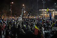 Protesters gathered in front of the government headquarters at the Victory square are now demanding resignation of PM Sorin Grindeanu. 12 February 2017.