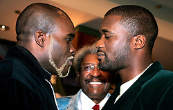 WBA/WBC/Ring Magazine Cruiserweight Champ Jean-Marc Mormeck (l) and IBF Cruiserweight Champ O'Neill Bell (r) face off at the presser announcing their upcoming fight.  The two will meet in a Cruiserweight Unification at the Theater at Madison Square Garden on January 7, 2006.