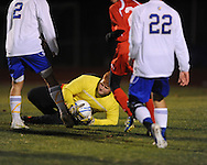 Oxford High vs. Lafayette High goalkeeper Jordan Wilms in boys high school soccer action at Bobby Holcomb Field in Oxford, Miss. on Monday, December 10, 2012. Oxford won 8-0.
