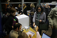 People have been voting all the day. 1.317 special places have been enabled for the voting process.  Place: Barcelona Bonanova District. Poliesportive of La Salle Bonanova. The 9th of November, 9N has been a special date in Catalonia where catalan people have participated in a voting process polling on the independence of Catalonia. More than 2 million people have participated, although Spain's Constitutional court suspended the referendum secession plan for this date. Photo: Eva Parey NO SALES IN SPAIN