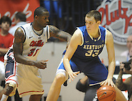 "Kentucky's Kyle Wiltjer (33) works against Mississippi's Murphy Holloway (31) at the C.M. ""Tad"" Smith Coliseum on Tuesday, January 29, 2013. Kentucky won 87-74. (AP Photo/Oxford Eagle, Bruce Newman).."
