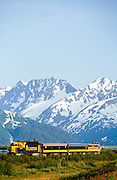 Alaska. Alaska Railroad in the Chugach Mountains near Portage.