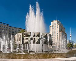 East German era fountain at Strausberger Platz on Karl Marx Allee in Berlin Germany