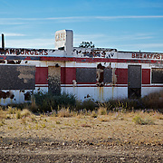 What left of Cafe at Twin Arrows Trading Post in Twin Arrows, Arizona. .A trip through parts of Route 66 from Southern California to Arizona.