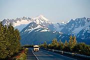 Alaska. Seward Highway and Chugach Mts. at sunset with RV.
