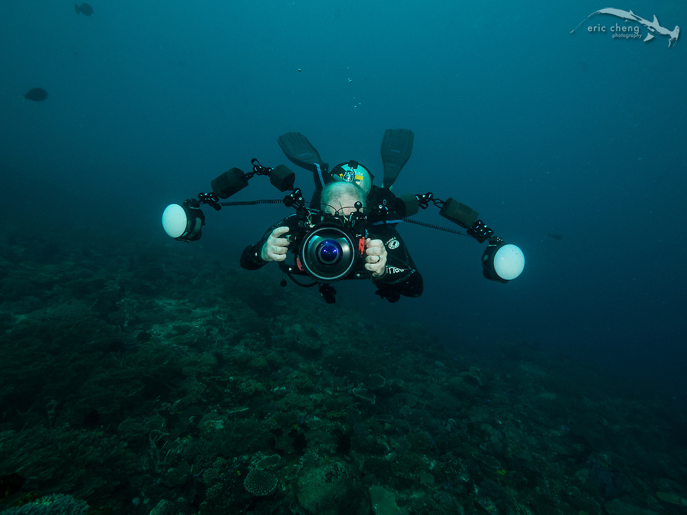 Underwater photographer Adam Hanlon. Cannibal Rock, Horseshoe Bay, Komodo National Park, Indonesia.