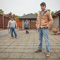 "Jorge, Jose and Jorge near completion on their house construction project at 1706 Myrtle Street in Calistoga.  ""So, what is your next project?""  ""Ah...not sure.""   jmarcial20@yahoo.com"