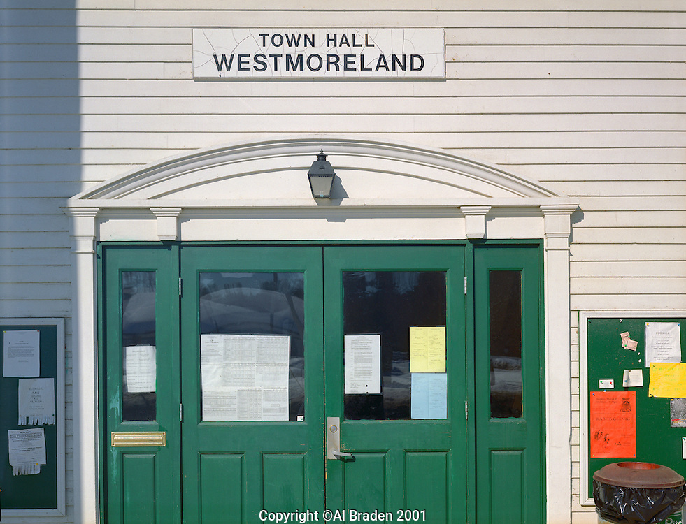 Ballots on Door, Westmoreland Town Hall, Westmoreland, NH