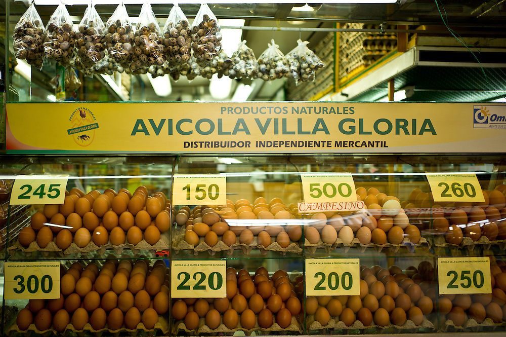 Many sizes and varieties of eggs at the Paloquemao Market in Bogotá, Colombia.