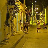 Nightlife in Cartagena.San Diego neighborhood, where few residents remain, after the foreign investment in the old quaters of the city.