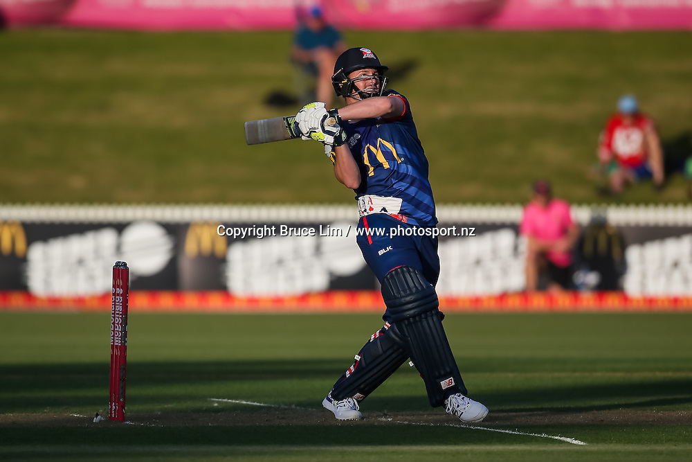 Auckland Aces' Colin Munro hits a six during the McDonalds Super Smash T20 cricket match - Knights v Aces played at Seddon Park, Hamilton, New Zealand on Saturday 17 December.<br /> <br /> Copyright photo: Bruce Lim / www.photosport.nz