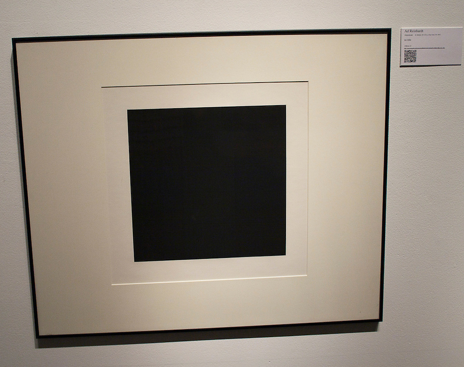 Ad Reinhardt<br /> American (Buffalo, N.Y., 1913-1967, New York, N.Y.)<br /> untitled<br /> 1990.06.012<br /> <br /> Ad Reinhardt considered himself to be a member of the abstract expressionist movement, but instead of channeling the primal creative urge through the artist&rsquo;s subjectivity and physical action like Jackson Pollock, Reinhardt insisted that a painting should be, &ldquo;pure, abstract, non-objective, timeless, spaceless, changeless, relationless, disinterested&hellip;self-conscious, ideal, transcendent, aware of no thing but art.&rdquo; This branch of AbEx was named color field painting, and it is characterized by large areas of a single hue.  The &ldquo;black&rdquo; paintings of Reinhardt&rsquo;s final decade best achieved his goal, and he considered them &ldquo;ultimate&rdquo; works of art.  The paintings and this print are not simple rectangles of black.  If you stand slightly to one side or the other and look carefully, you can see nine equal squares, three up by three across, each of a slightly different color or surface characteristic. <br /> <br /> <br /> http://www.memphis.edu/amum/ad.reinhardt.untitled.silkscreen.php