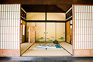 Interior of Traditional Five-Room House in Japanese Garden at The Huntington Library and Botanical Gardens, San Marino, California