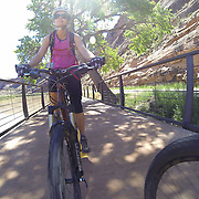 SHOT 5/9/16 11:16:38 AM - GoPro footage and stills of the Mag 7 trail, Fisher Towers and the bike trail along Highway 128 in Moab. Moab is a city in Grand County, in eastern Utah, in the western United States. Moab attracts a large number of tourists every year, mostly visitors to the nearby Arches and Canyonlands National Parks. The town is a popular base for mountain bikers and motorized offload enthusiasts who ride the extensive network of trails in the area. (Photo by Marc Piscotty / © 2016)