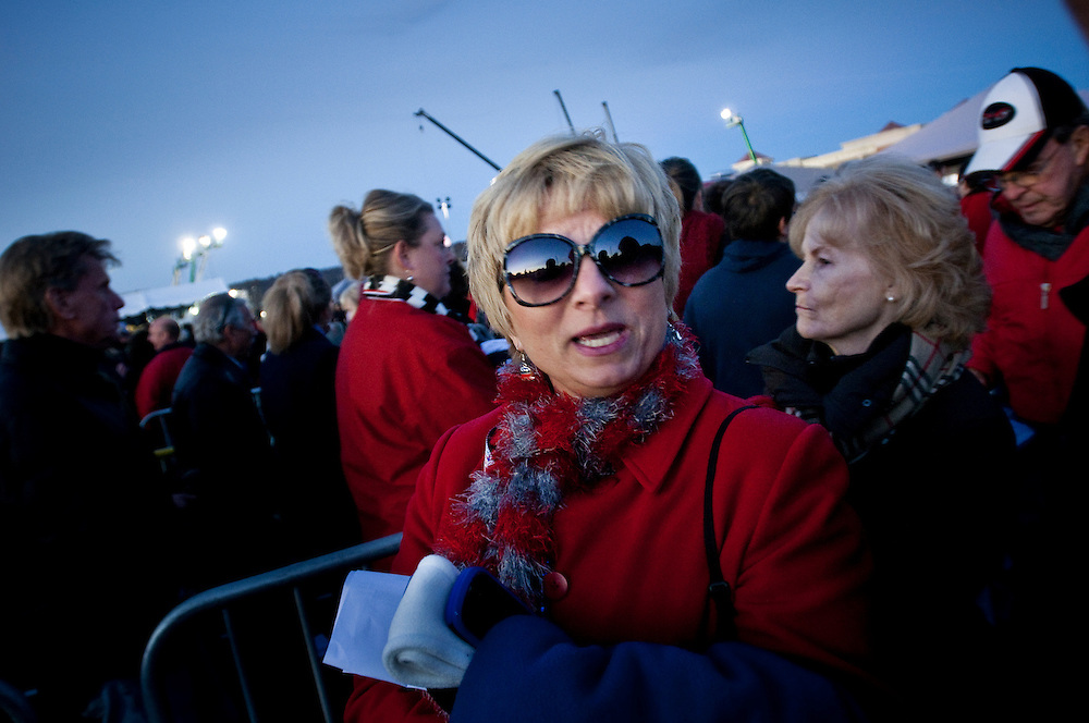 Angie Powell in line to get in to the Mitt Romney rally in West Chester outside Cincinnati, Ohio