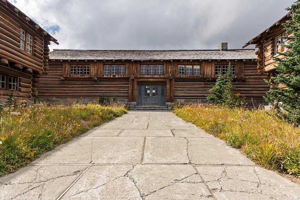 The Sunrise Visitor Center (south blockhouse building of the Yakima Stockade Group) at the Sunrise area in Mount Rainier National Park, Washington State, USA