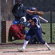 Delmar Wildcats Infielder Savannah Brown (17) makes contact with the ball during a varsity scheduled game between Caravel Academy and The Delmar Wildcats Saturday, April 4, 2015, at Caravel Athletic Field in Bear Delaware.