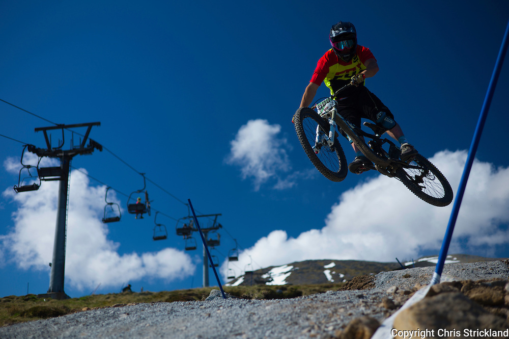 Glencoe Mountain Resort, Glencoe, Scottish Highlands, UK. 29th May 2016. Downhill mountain bikers compete in the Scottish Downhill Association round at Glencoe amongst some of the finest scenery in the British Isles during Bank Holiday weekend.
