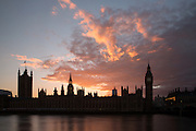 Silhouette of the Houses of Parliament in London