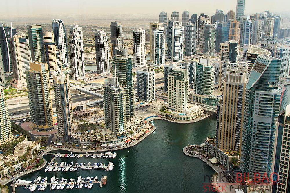 Skyscrapers and yachts in Dubai Marina. Dubai city. Dubai. United Arab Emirates.