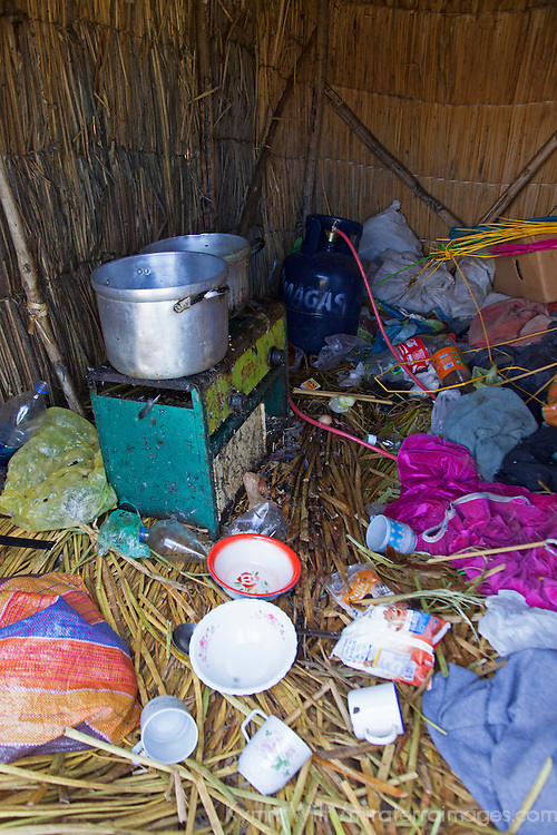 South America, Peru, Uros Islands. The kitchen inside a home on the floating reed islands of Lake Titicaca.